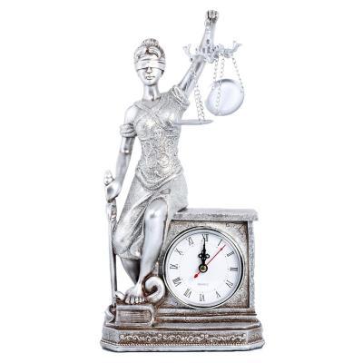 Reloj Mural Decora Dama Justicia Platino 34x17 cm Platino