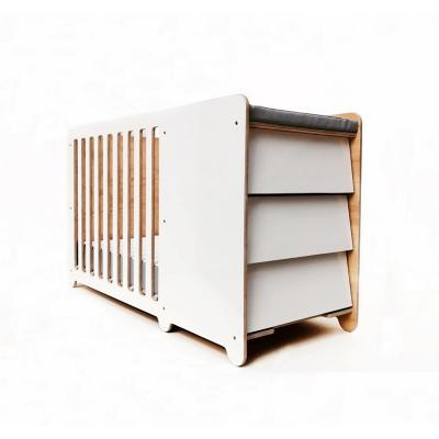 Cuna corral colchón + cómoda 95x116x64 cm blanca