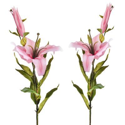 Pack 2 varas artificial flor Casablanca rosa 90 cm