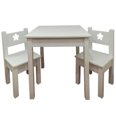 Mesa infantil con 2 Sillas Blanco Flor