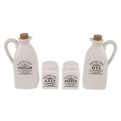 Set 4 piezas de alcuzas cerámica blanco
