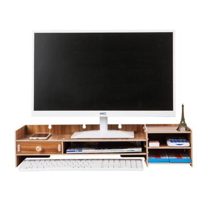 Soporte monitor organizador escritorio 63,5x20x13,5 cm café