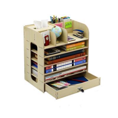 Organizador escritorio madera cajón 34,7x22,2x32,6 cm blanco