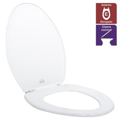 Asiento WC elongado plástico blanco