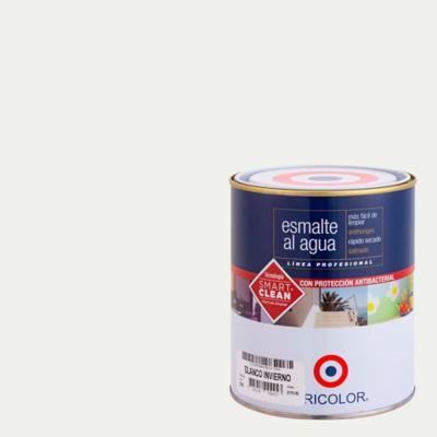 Esmalte al agua satinado blanco invierno 1/4 gl