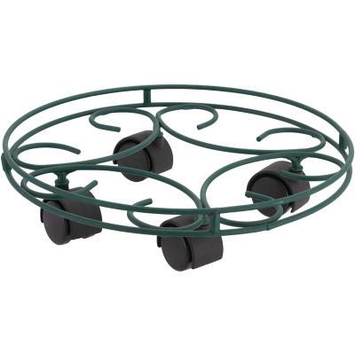 Portamacetero circular de metal 37 cm con ruedas Verde