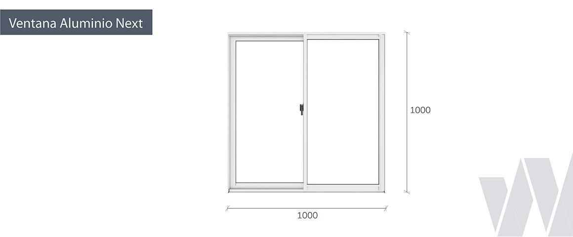 Medidas ventana corredera aluminio monolítica