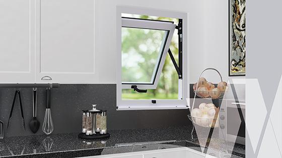 Ambientación ventana proyectante aluminio select monolítica