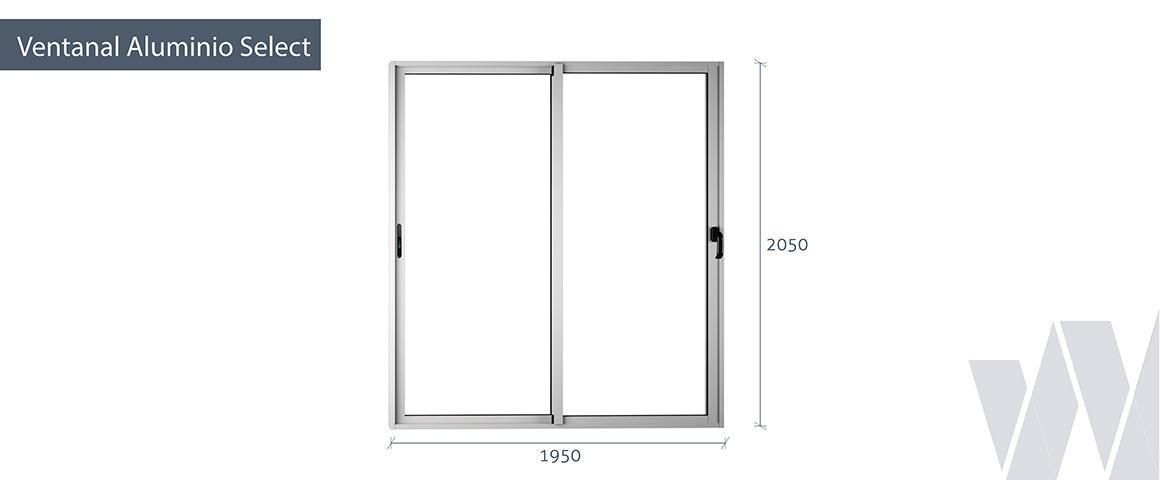 Medidas ventanal corredera aluminio termopanel