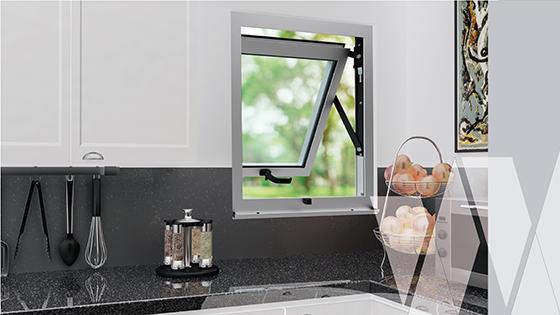 Ambientación ventana proyectante aluminio select termopanel