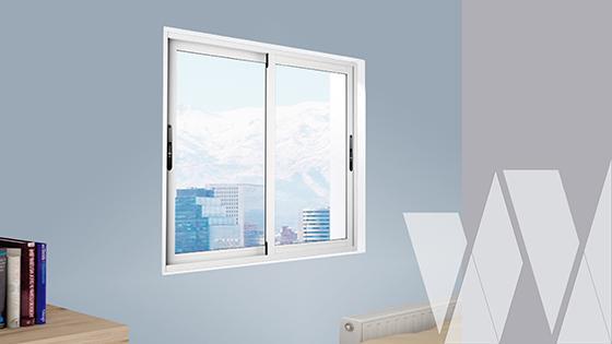 Ambientación ventana corredera aluminio premium select termopanel