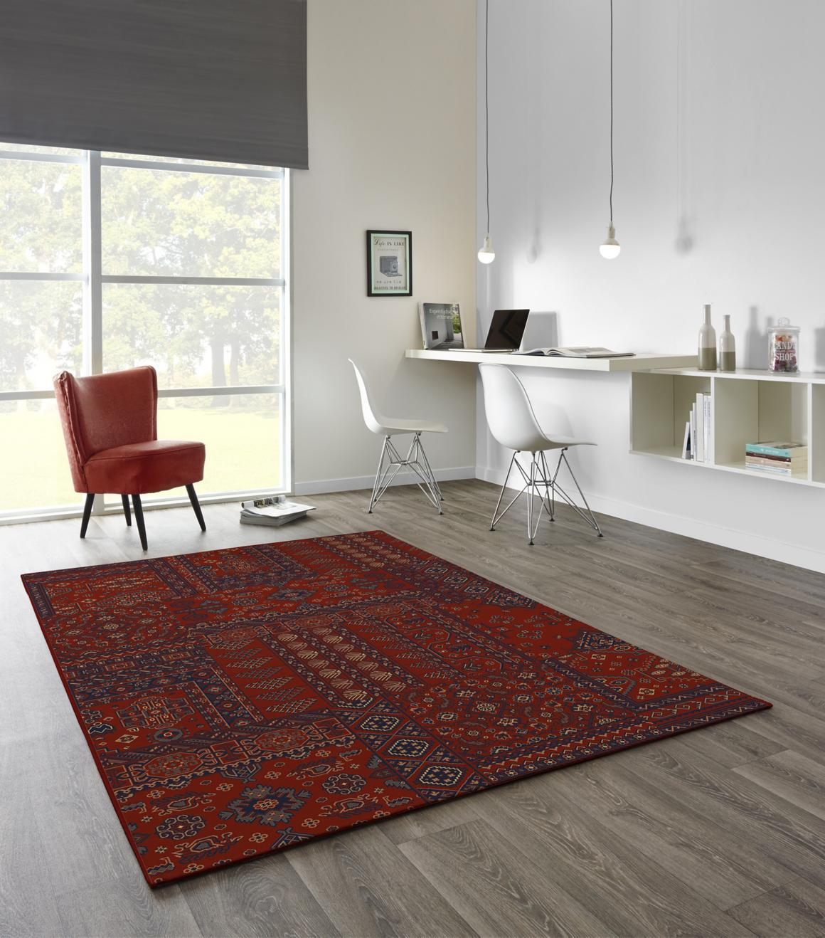 Alfombra Kirman 160x230 cm burdeo ROOM