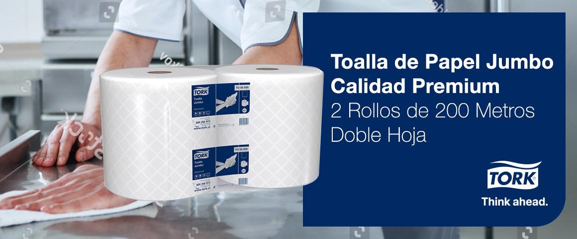 Toalla de Papel Tork Jumbo Calidad Premium - 2 Rollos de 200 Metros - Doble Hoja