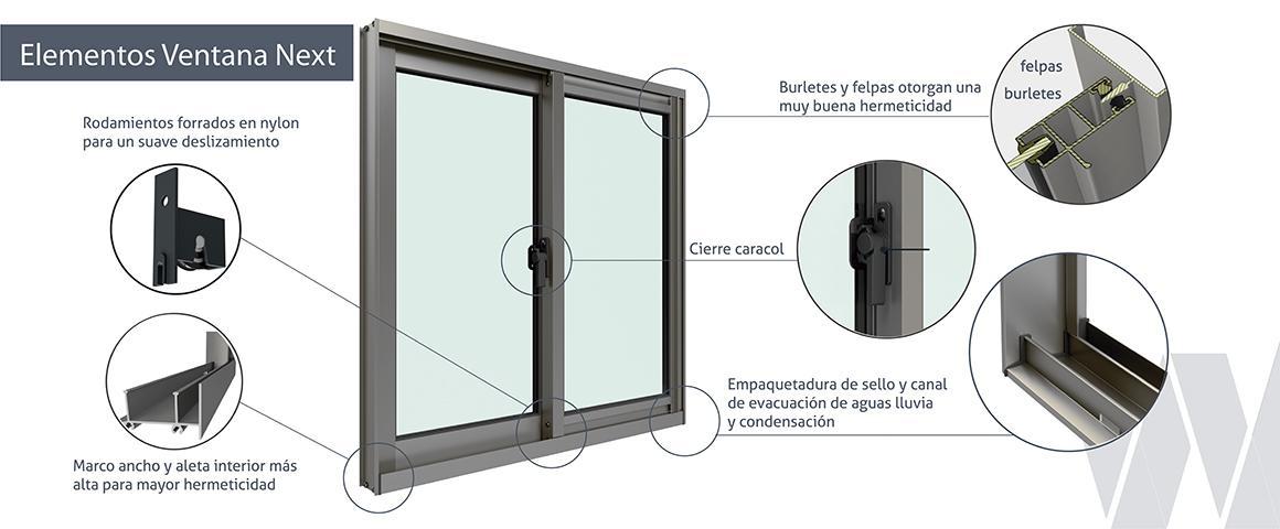 Detalle ventana corredera aluminio monolítica