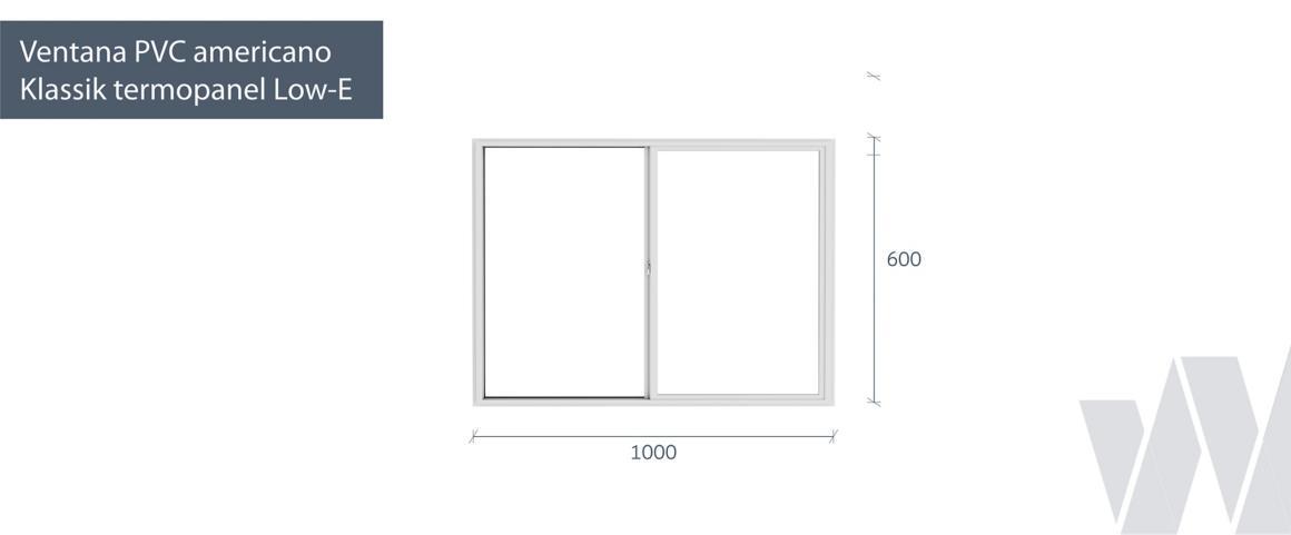 Medidas ventana corredera PVC KLassik termopanel Low-E