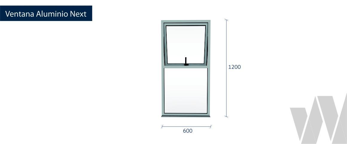 Medidas conjunto fijo más proyectante aluminio monolítica