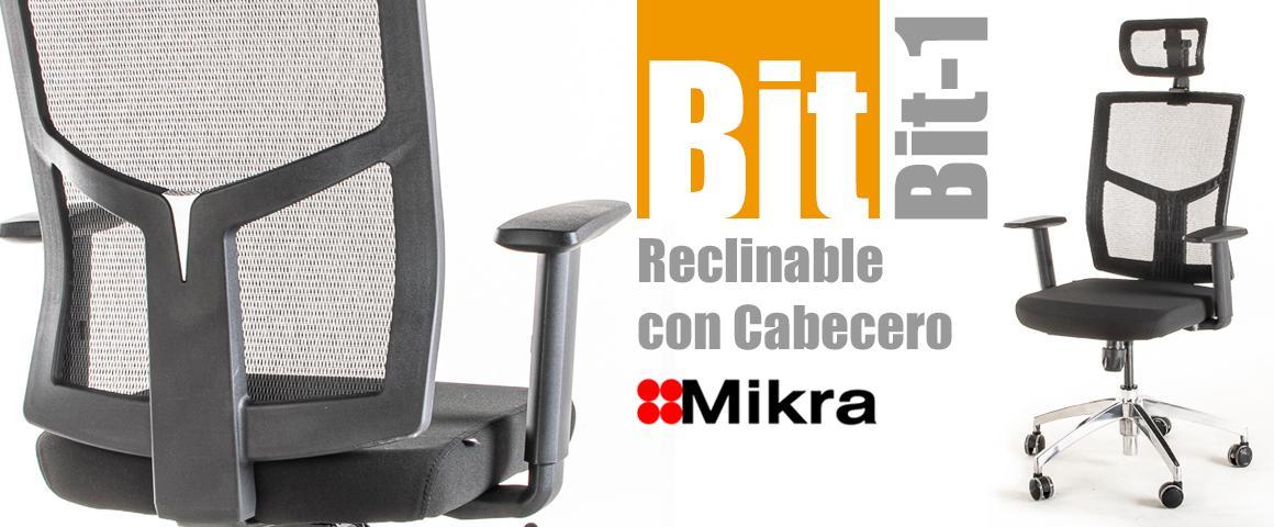Silla Ergonómica BIT-1 Reclinable con Cabecero de Mikra.