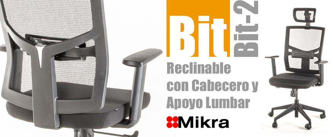 Silla Ergonómica BIT-2 Reclinable con Cabecero y Apoyo Lumbar Regulable, de Mikra.