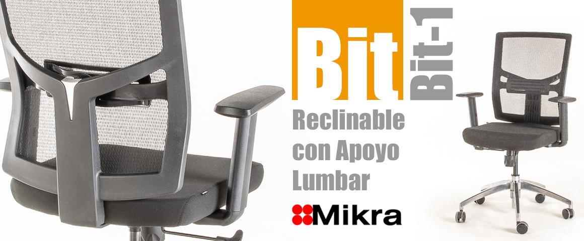 Silla Ergonómica BIT-1 Reclinable con Apoyo Lumbar Regulable, de Mikra.