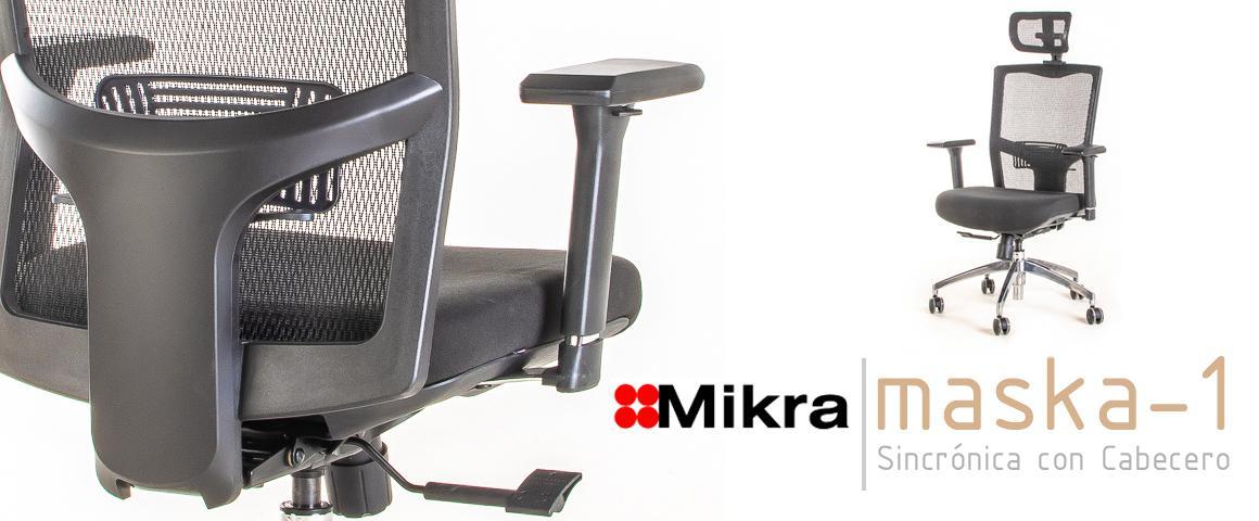 Silla Ergonómica MASKA-1 Sincrónica con Cabecero, de Mikra.