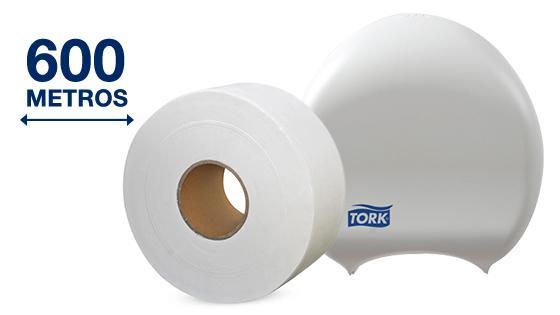 Dispensador de papel higiénico para rollos jumbo de hasta 600 metros