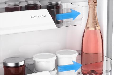 Fast adapt del refrigerador BFX70 de Fensa para guardar envases de distintos tamaños y organizar como quieras todos tus alimentos y bebidas sin preocuparte por el espacio.