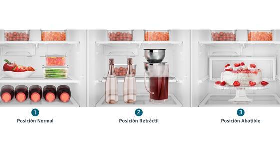 El refrigerador Fensa BFX70 incluye una bandeja retráctil y abatible