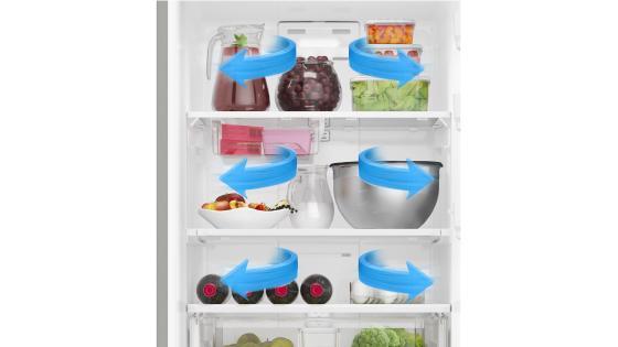 Incorpora el sistema Multiflow de enfriamiento, que distribuye de manera óptima el aire en el interior de tu refrigerador garantizando una mejor conservación de los alimentos.