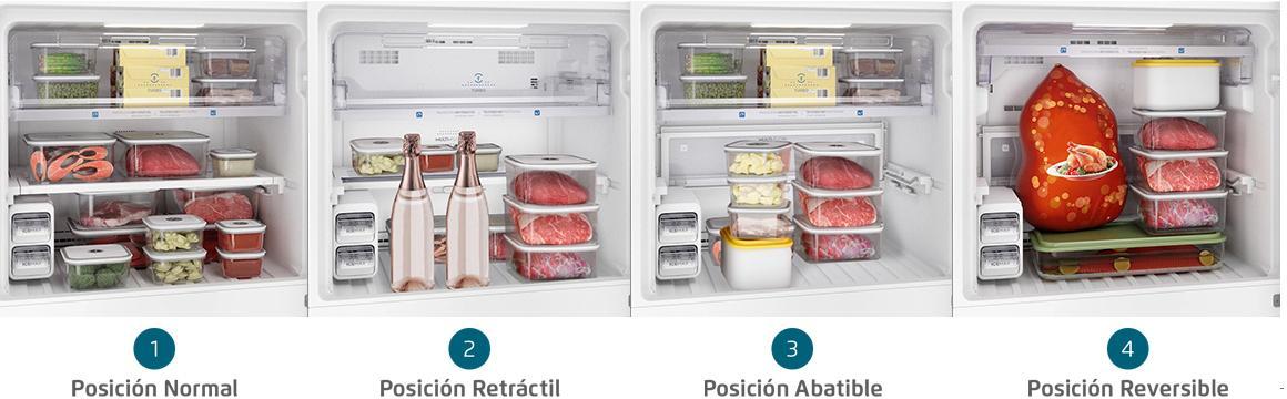 Bandejas adaptables en freezer con el refrigerador Fensa DF56S