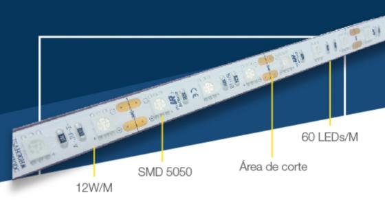 detalle de corte cinta led conexion