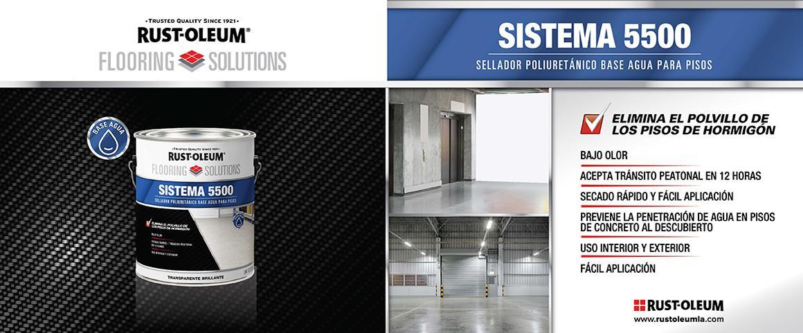sistema 5500, sellador poliuretanico base agua, flooring solutions, pintura pisos, rust-oleum