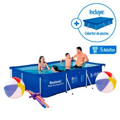 Combo Piscina estructural rectangular 3 x 2.01 x 0.66m + Cobertor de piscina rectangular 3x2.01m + 4 Flotadores tipo tallarin + 2 Pelotas Inflable Colores 51cm