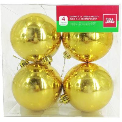 Esfera dorada brillante 9cm x4