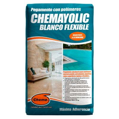 Pegamento en Polvo Chemayolic Blanco Flexible 25kg