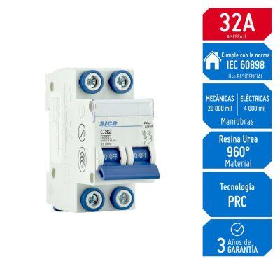 Interruptor Termomagnético 2x32A Sica