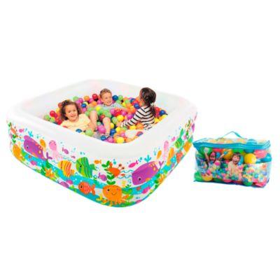 Combo Piscina Inflable Aquarium 159x159x50cm + 2 Cajas de 100 pelotitas de colores