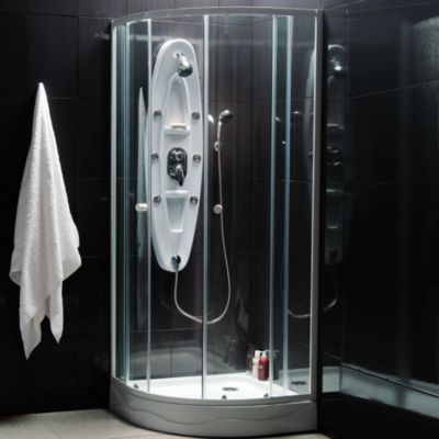 Combo Cabina de ducha redonda + Columna hidromasaje de fibra de vidrio