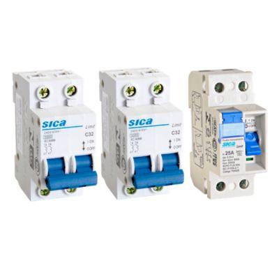 Interruptor Diferencial 2x25A Sica + Interruptor Termomagnético 2x15A Sica + Interruptor Termomagnético 2x20A Sica