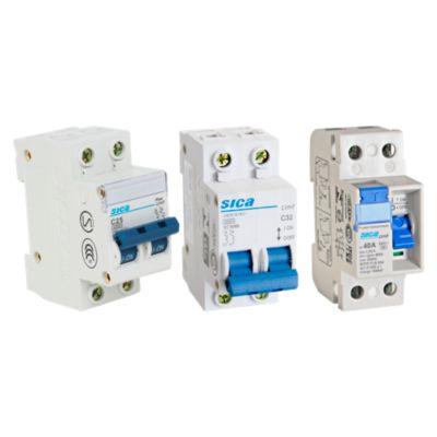 Interruptor Diferencial 2x40A Sica + Interruptor Termomagnético 2x25A Sica + Interruptor Termomagnético 2x32A Sica
