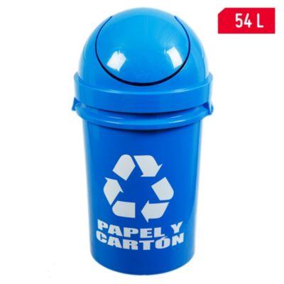Tacho de plástico para reciclaje de papel y cartón 54 L