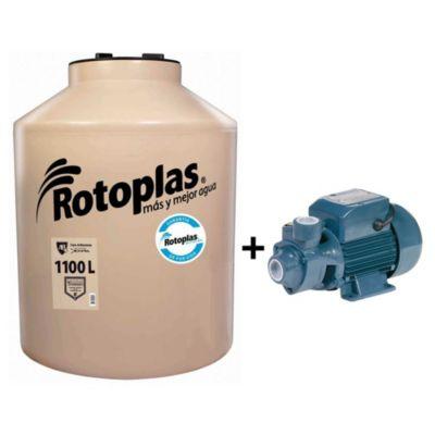 Combo Tanque de Agua 1100 L Rotoplas + Bomba Periférica 0.5 Hp Humboldt