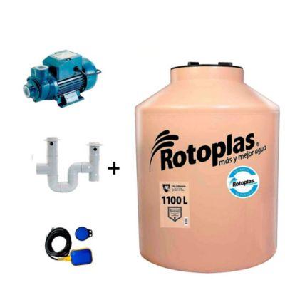 Combo Tanque de Agua 1100 L Rotoplas + Bomba Periférica 0.5 HP Karson + Kit Instalación Tanque Tuboplast + Automático de Nivel Humboldt