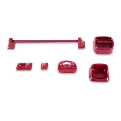 Kit de 5 accesorios de loza guinda