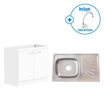 Combo Lavadero 1 poza con escurridero 50 cm + Mueble para Lavadero 80cm + Llave de Cocina a Mueble Sevilla