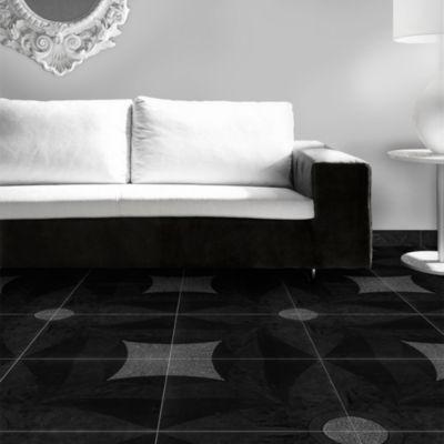 Cerámica Reyna Negro Geométrico 36x36cm para piso o pared