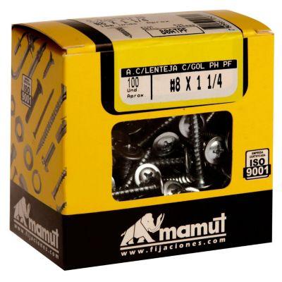 Autoperforante cb/lent p/f 8x1 1/4 100und