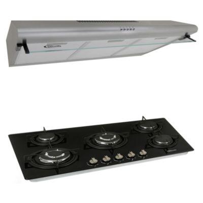 Cocina empotrable 5 quemadores Glassy Plus + Campana 90cm CK901IX