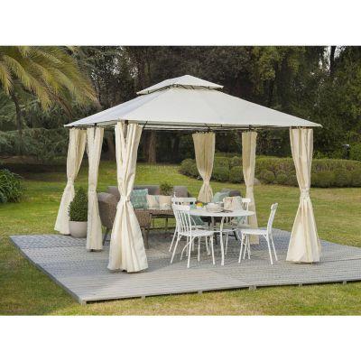 Pérgola con techo y cortinas 4x3m