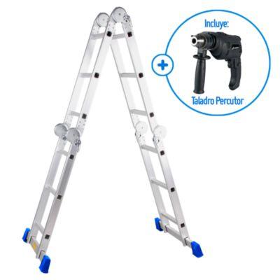 Combo Taladro Percutor 1/2'' ID13KTG 550W + Escalera Multipropósito 12 Pasos Aluminio