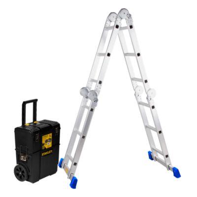 Combo Escalera Multipropósito 12 Pasos Aluminio + Caja de Herramientas 2 en 1